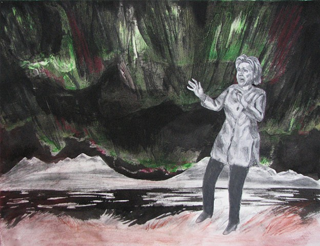 drawing of Hillary Clinton and Northern Lights by Chris Mona
