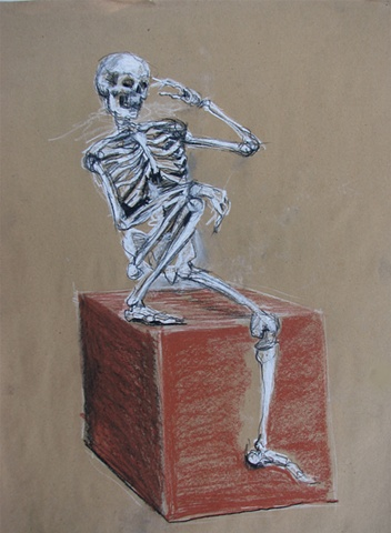 drawing of seated skeleton by Chris Mona