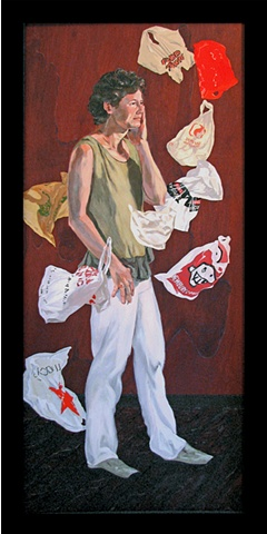 painting of Tina Ward in a vortex of shopping bags by Chris Mona
