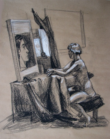 drawing of interior with Female Nude by Chris Mona