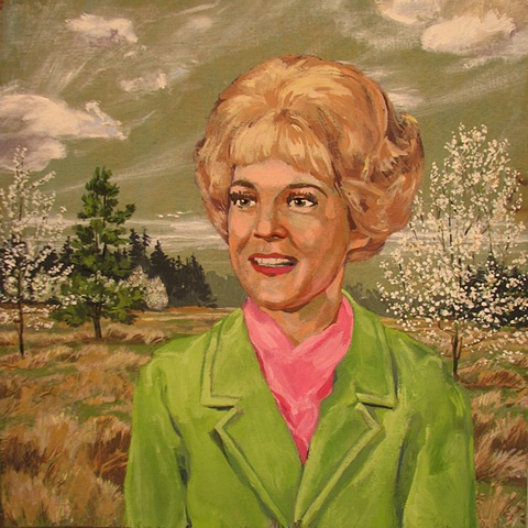 painting on wood panel of the Christian singer from the 1970's Carole Prond with pear trees in blossom and pine trees by Chris Mona