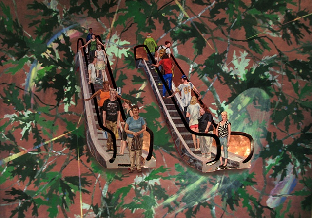painting of oak leaves and people riding escalators by Chris Mona