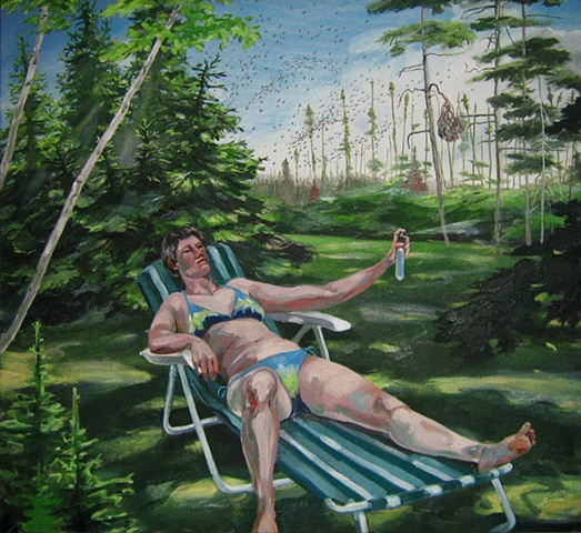 painting of Tina Ward in bikini with bug spray fighting black flies in Newfoundland by Chris Mona