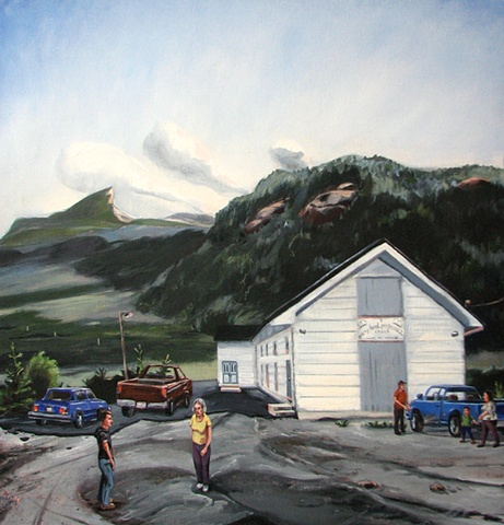 painting of Peak of Tenerife Newfoundland, and Birchy Head Pentecostal Church Newfoundland, by Chris Mona