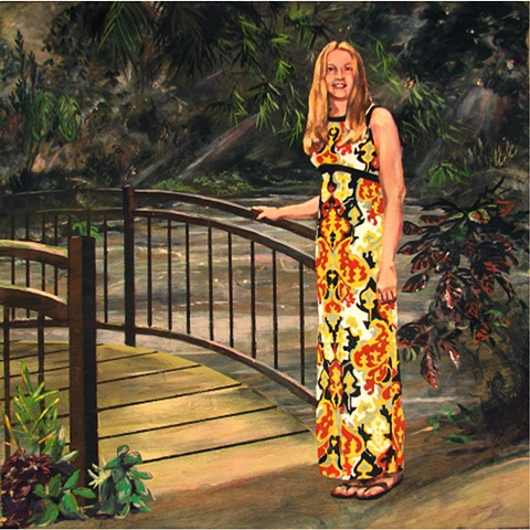 painting on wood panel of the Christian singer from the 1970's April Turner at a footbridge in a garden by Chris Mona