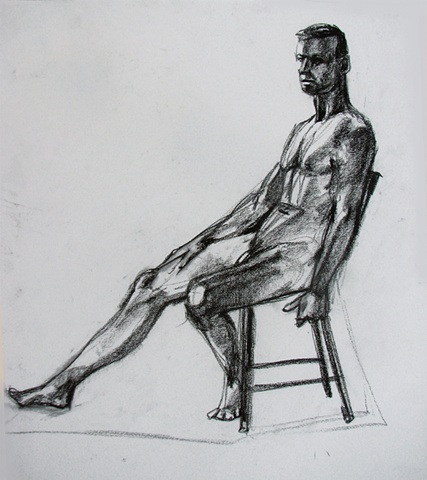 drawing of seated male nude by Chris Mona