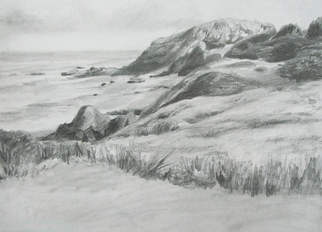 drawing of cliffs and shoreline of Oregon coast by Chris Mona