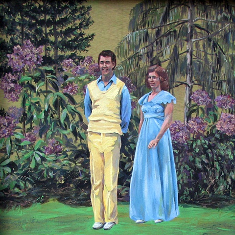 painting of two Christian singers from the 1970's in a garden by Chris Mona
