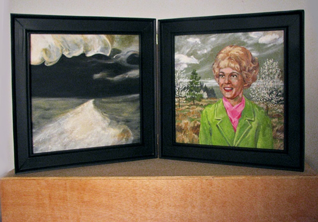 painting in two panels of black and white visionary scene and Christian singer Carole Prond by Chris Mona
