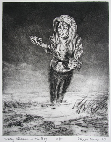 intaglio print of British comedienne Tracey Ullmann  on a cell phone as a visionary experience sinking in a bog by Chris Mona