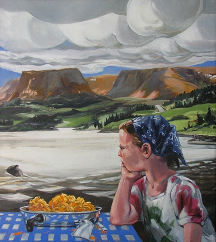 painting of Tablelands Newfoundland, with Annabelle Mona at table with Kraft Dinner, macaroni and cheese, by Chris Mona