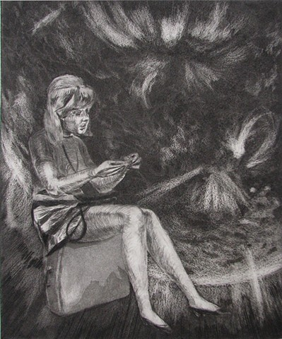intaglio of Lynn Redgrave with Solar Flares by Chris Mona