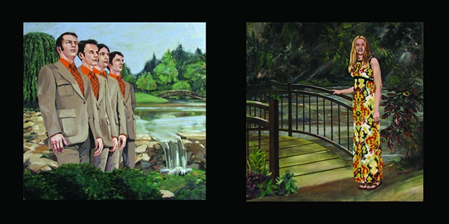 painting in two panels of the Christian singing group The Young Deacons and Christian singer April Turner by Chris Mona