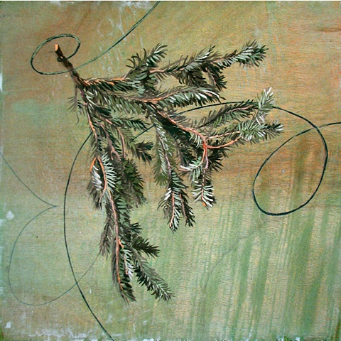 painting on wood panel of a green spruce branch whirling in air by Chris Mona