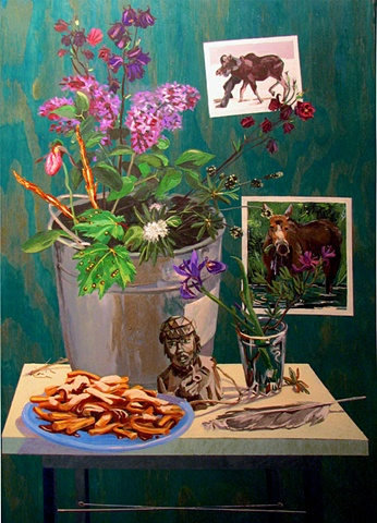painting on wood panel of poutine, columbine, pink lady slipper orchid, fern heads, gull feather, photo of moose in swamp, Newfoundland, by Chris Mona