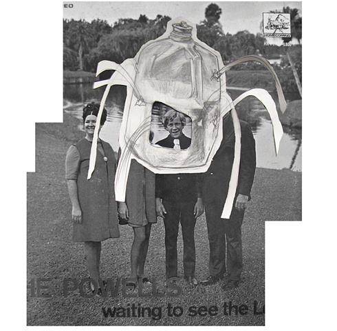 digital print of the Christian singing group from the 1970's the Powells as a visionary experience covered by a milk jug shot through and pouring out milk by Chris Mona