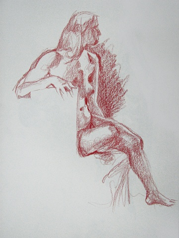 drawing of seated female nude by Chris Mona