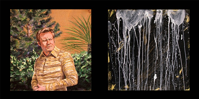 painting on two panels of the Christian singer Jimmy Swaggart in a garden and spilled milk by Chris Mona