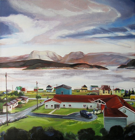painting with view of Gros Morne Mountain Newfoundland, and Woody Point Newfoundland by Chris Mona