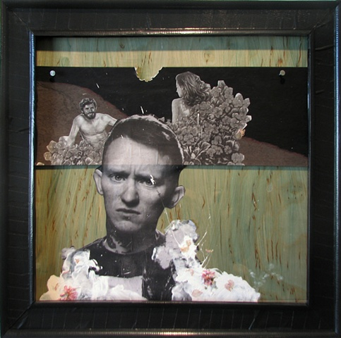 painting on wood panel with collage of alt rock emo punk singer with cherry blossoms and tract image of Adam and Eve in the garden as a visionary experience with bite taken out of it by Chris Mona