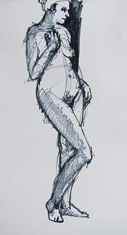 drawing of standing female nude by Chris Mona
