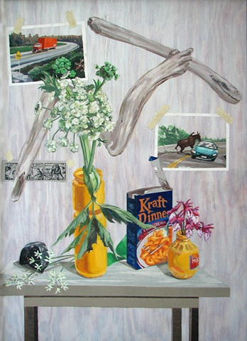 painting on wood panel of cow parsnip, orchids, Kraft Dinner, Mark Trail comic, moose hitting car, moose by Trans Canada Highway with truck, Newfoundland, by Chris Mona