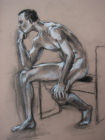 drawing of seated nude male by Chris Mona