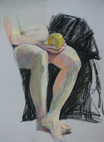 drawing of nude female holding an apple by Chris Mona