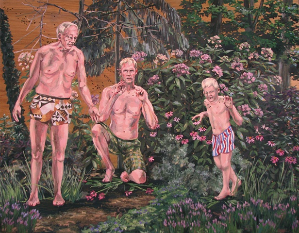 painting on wood panel of the artist Chris Mona as an old man, at present, and as a young boy in swim trunks in his backyard garden by Chris Mona