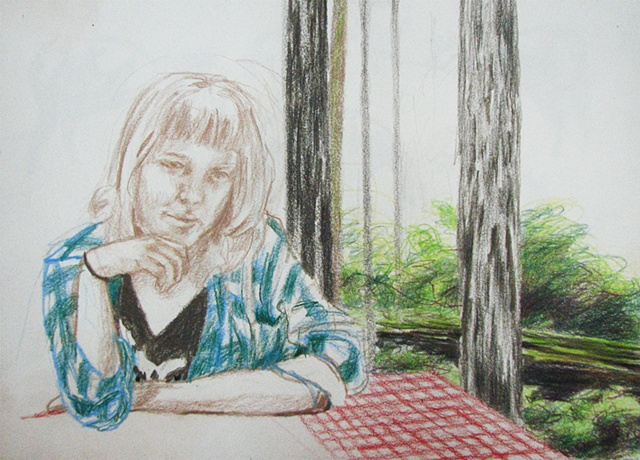 drawing of Annabelle Mona at campground table, Jedediah Smith Nat. Park, CA, by Chris Mona