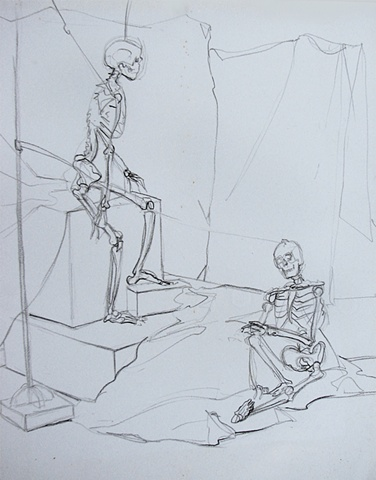 drawing of skeletons by Chris Mona