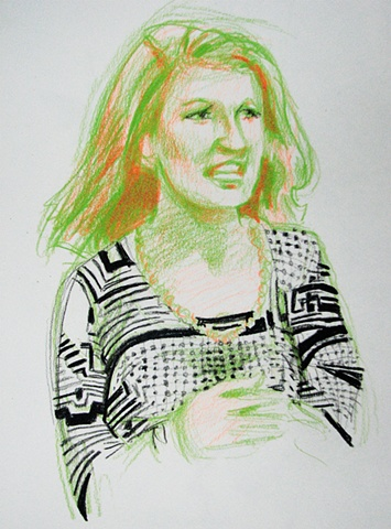 drawing of British comedienne Penelope Keith by Chris Mona