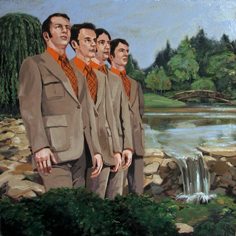painting on wood panel of the Christian singing group The Young Deacons in a landscape by Chris Mona