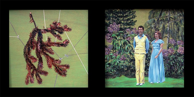 painting in two panels of a dead spruce branch wrapped in string and two Christian singers from the 1970's in a garden by Chris Mona