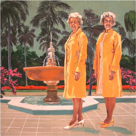 painting on wood panel of the Christian singers from the 1970's Ella and Ada Kimmel at a Fountain by Chris Mona