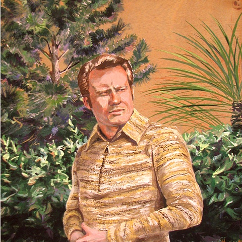 painting on wood panel of Jimmy Swaggart in a garden by Chris Mona