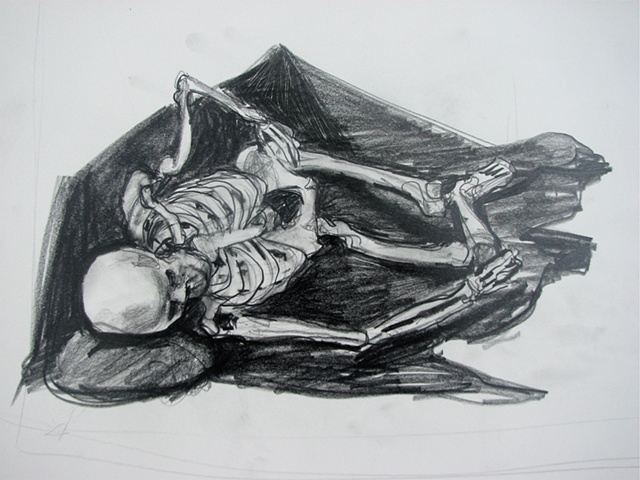 drawing of skeleton by Chris Mona
