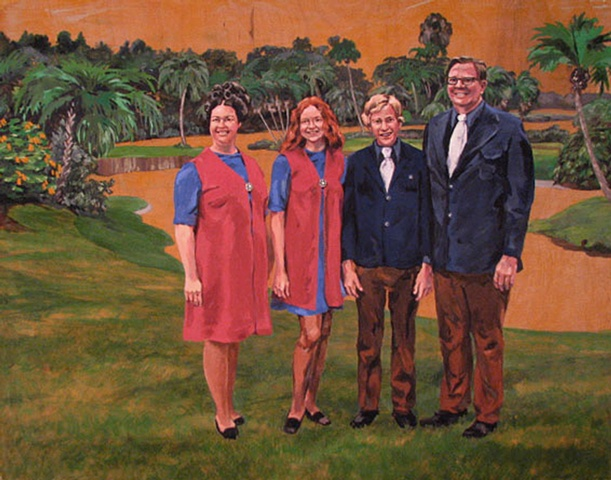 painting on wood panel of The Powell Family in Cypress Gardens Florida, by Chris Mona