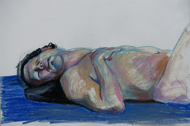 drawing of reclining male figure by Chris Mona