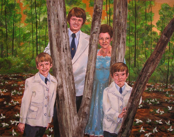 painting on wood panels of the Christian singing group from the 1970's the DeLauder Family in a forest with trillium by Chris Mona
