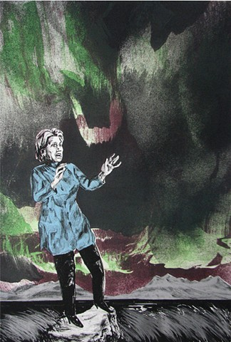 lithograph of Hillary Clinton with Northern Lights by Chris Mona
