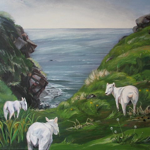 painting of three sheep in pasture, view of cliff, Green Gardens Newfoundland, by Chris Mona