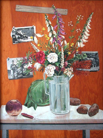painting on wood panel of old roses and fox gloves in pitcher, turnip and potatoes, with photos of moose, Newfoundland, by Chris Mona