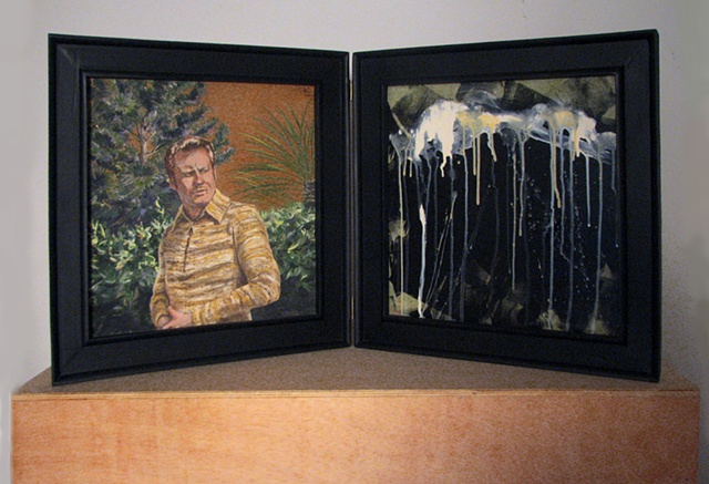 Jpainting on two panels of the Christian singer Jimmy Swaggart in a garden and spilled milk by Chris Mona