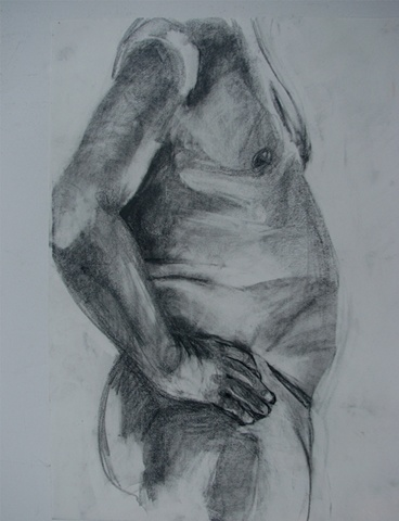 drawing of male torso with arm by Chris Mona