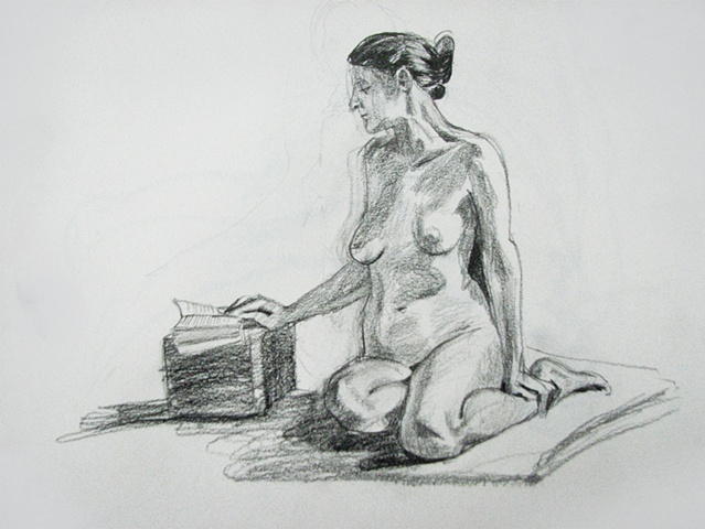 drawing of seated female nude reading by Chris Mona