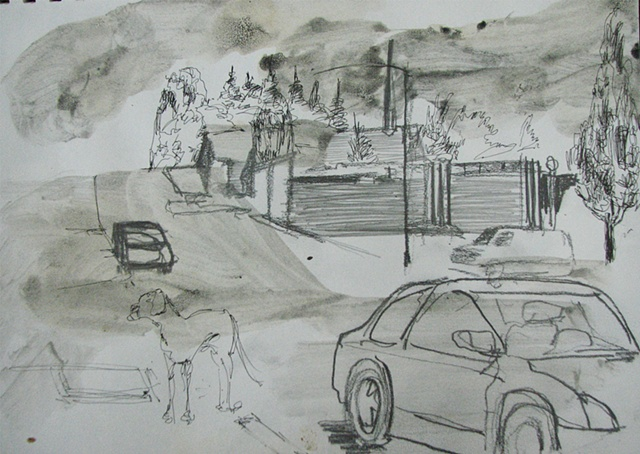 drawing of a downtown Coos Bay Oregon street by Chris Mona