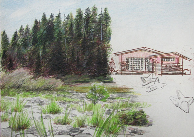 drawing of trees by Smith River with 1960's era House in Crescent City, CA by Chris Mona