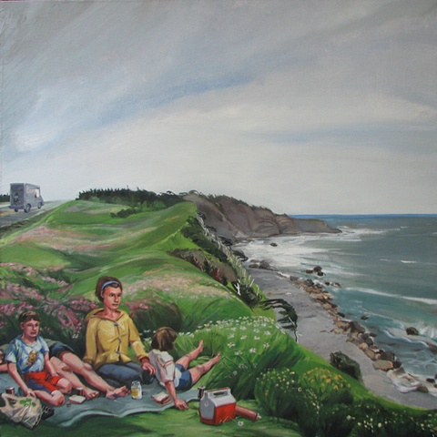painting of picnic at cliff at Green Point Newfoundland by Chris Mona