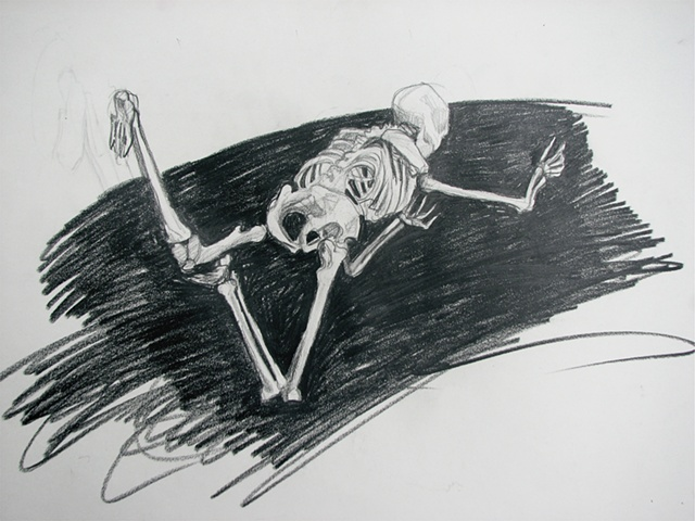 drawing of flying skeleton by Chris Mona